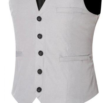Men's Classic Formal Business Slim Fit Chain  Vest Suit Tuxedo Waistcoat - GRAY 6XL