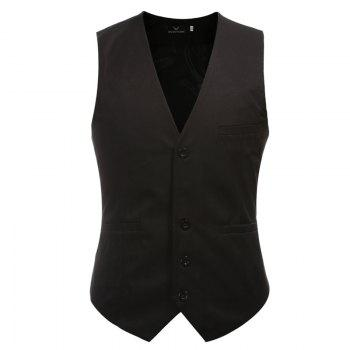 Men's Classic Formal Business Slim Fit Chain  Vest Suit Tuxedo Waistcoat - BLACK BLACK