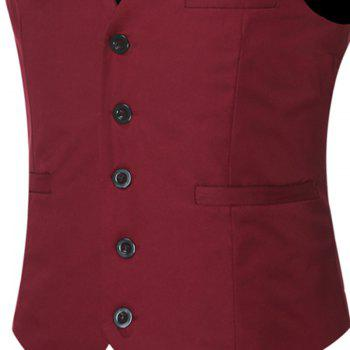 Men's Classic Formal Business Slim Fit Chain  Vest Suit Tuxedo Waistcoat - WINE RED WINE RED