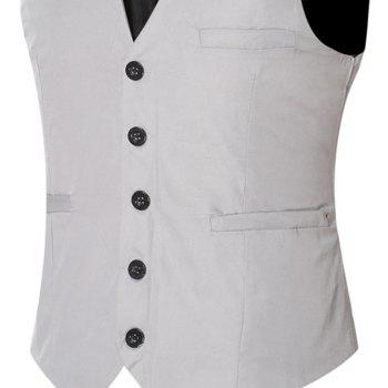 Men's Classic Formal Business Slim Fit Chain  Vest Suit Tuxedo Waistcoat - GRAY GRAY