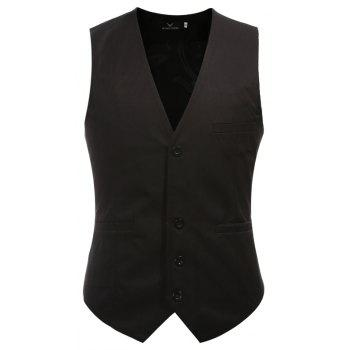 Men's Classic Formal Business Slim Fit Chain  Vest Suit Tuxedo Waistcoat - BLACK 4XL