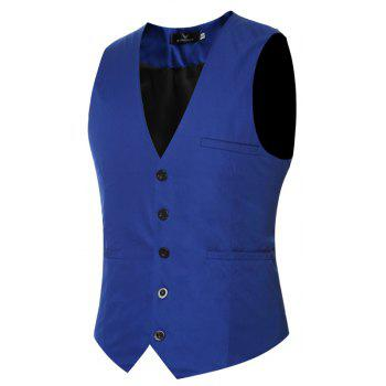 Men's Classic Formal Business Slim Fit Chain  Vest Suit Tuxedo Waistcoat - ROYAL ROYAL