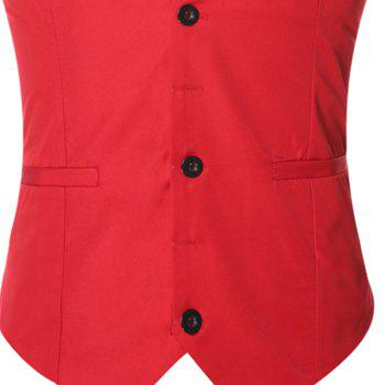 Men's Classic Formal Business Slim Fit Chain  Vest Suit Tuxedo Waistcoat - RED RED