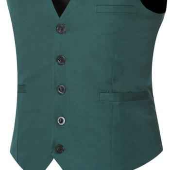 Men's Classic Formal Business Slim Fit Chain  Vest Suit Tuxedo Waistcoat - GREEN GREEN