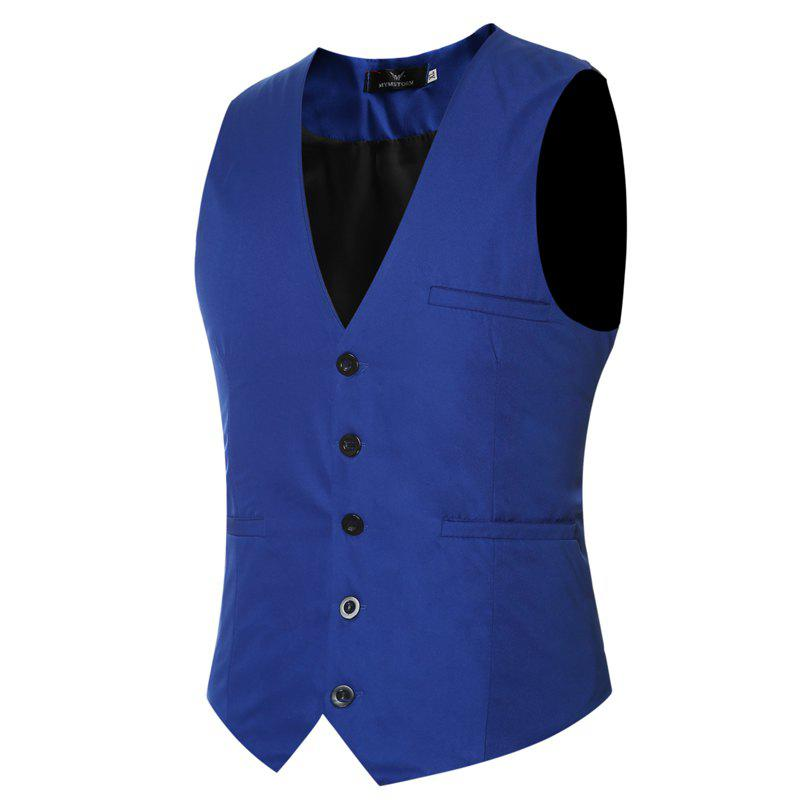 Men's Classic Formal Business Slim Fit Chain  Vest Suit Tuxedo Waistcoat - ROYAL M