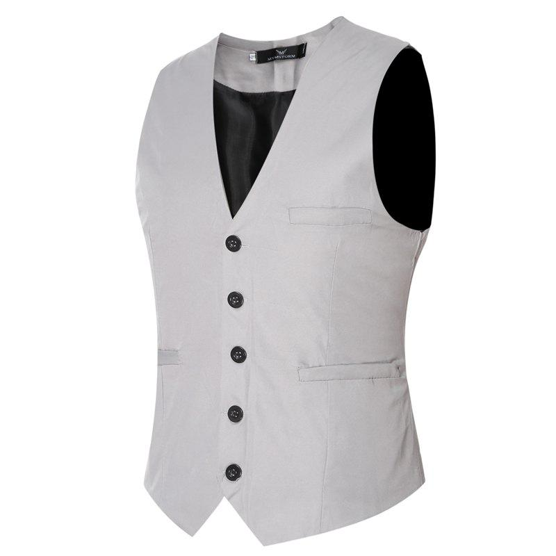 Men's Classic Formal Business Slim Fit Chain  Vest Suit Tuxedo Waistcoat - GRAY XXXXL