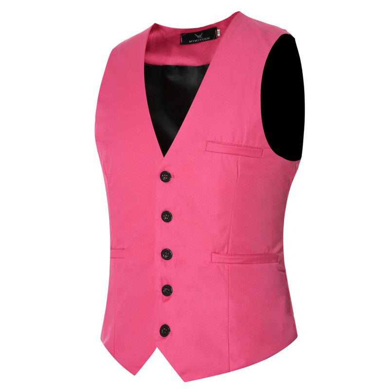 Men's Classic Formal Business Slim Fit Chain  Vest Suit Tuxedo Waistcoat - PINK 5XL