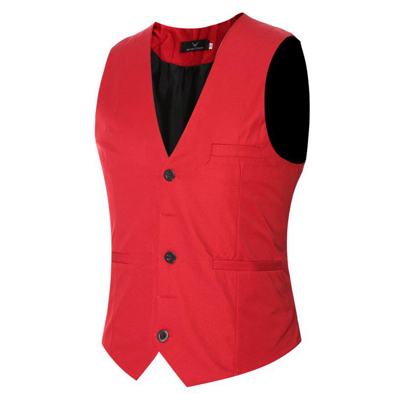Men's Classic Formal Business Slim Fit Chain  Vest Suit Tuxedo Waistcoat - RED XL