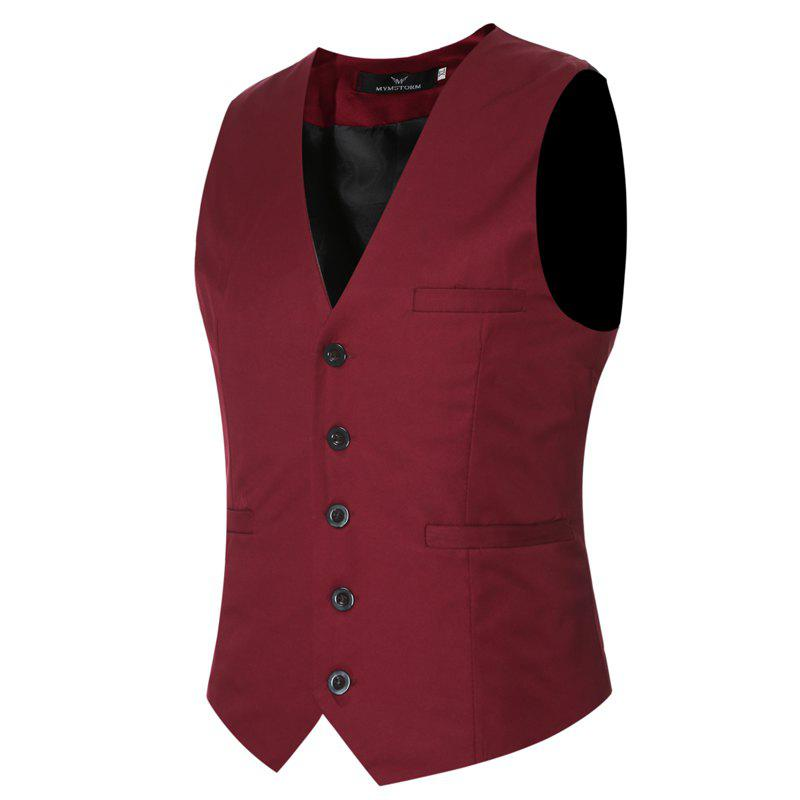 Men's Classic Formal Business Slim Fit Chain  Vest Suit Tuxedo Waistcoat - WINE RED 5XL