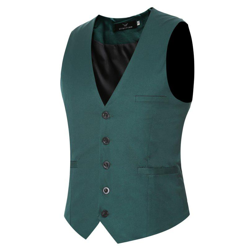 Men's Classic Formal Business Slim Fit Chain  Vest Suit Tuxedo Waistcoat - GREEN L