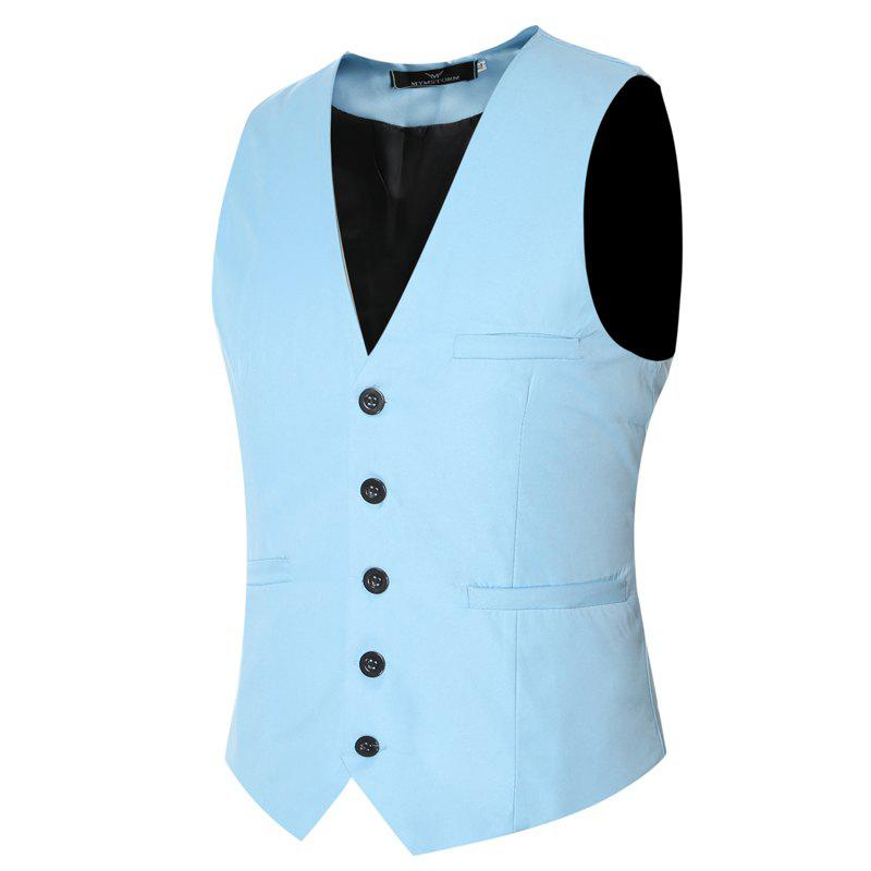 Men's Classic Formal Business Slim Fit Chain  Vest Suit Tuxedo Waistcoat - LAKE BLUE 3XL