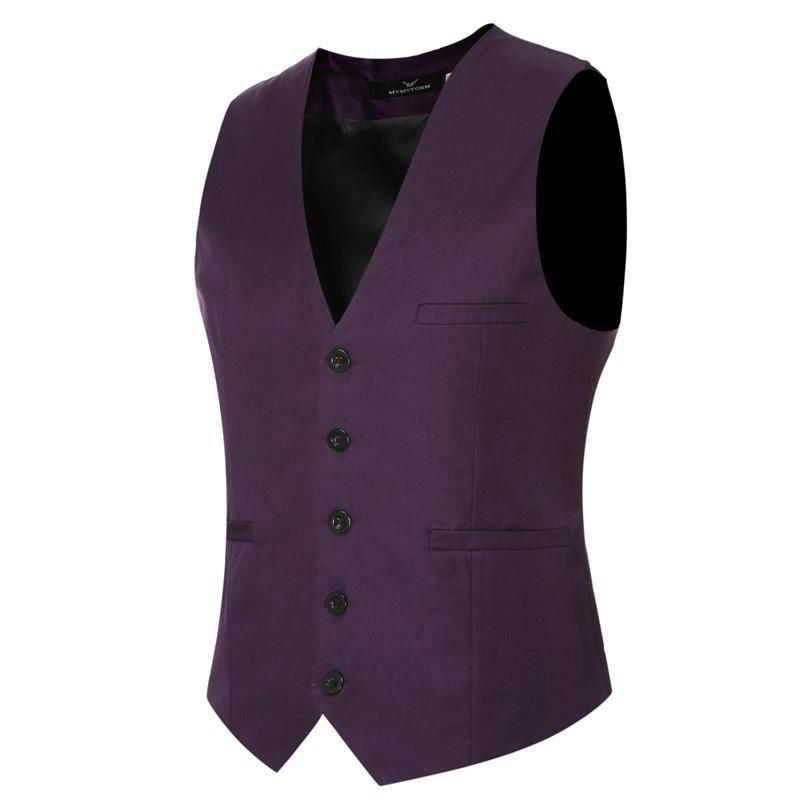 Men's Classic Formal Business Slim Fit Chain  Vest Suit Tuxedo Waistcoat - PURPLE M