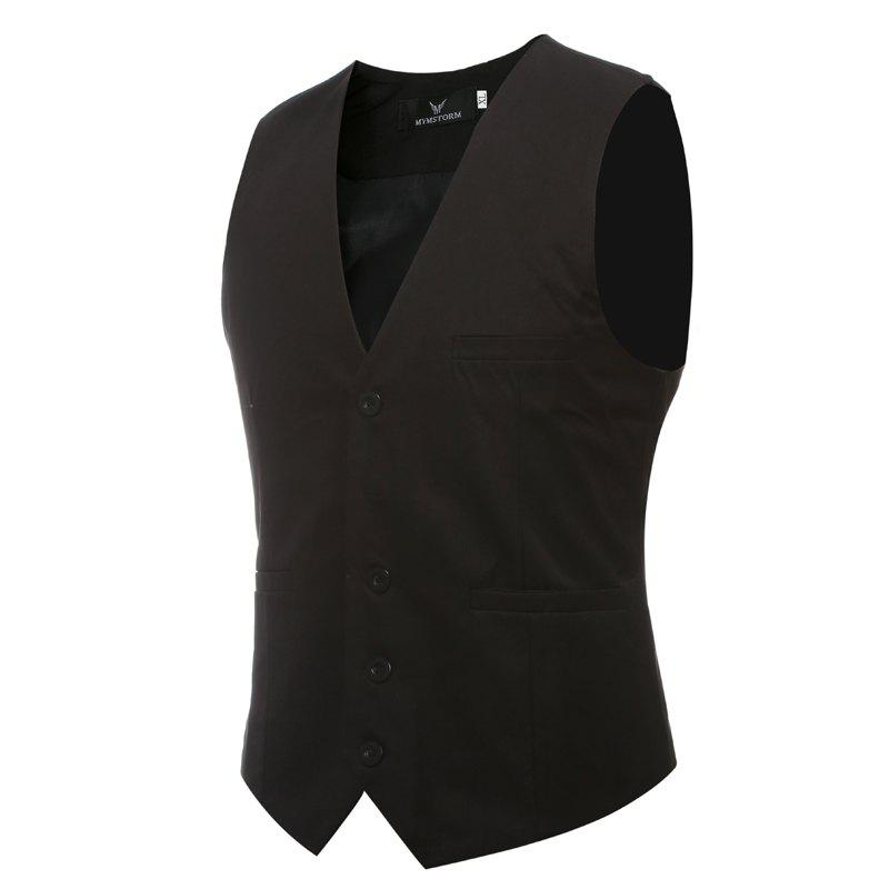 Men's Classic Formal Business Slim Fit Chain  Vest Suit Tuxedo Waistcoat - BLACK L