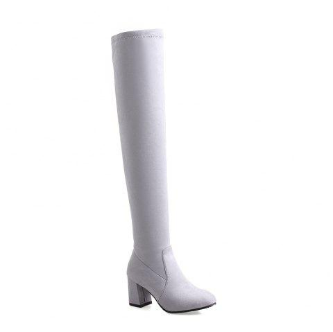 High-heeled Boots Leg Over Knee - GRAY 39