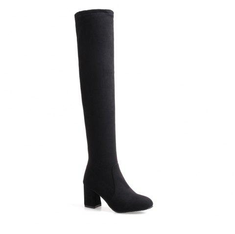 High-heeled Boots Leg Over Knee - BLACK 46