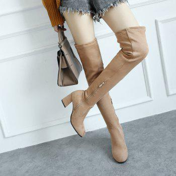 High-heeled Boots Leg Over Knee - APRICOT APRICOT