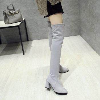 High-heeled Boots Leg Over Knee - GRAY 41