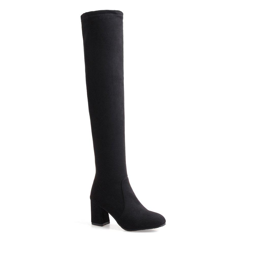 High-heeled Boots Leg Over Knee - BLACK 35
