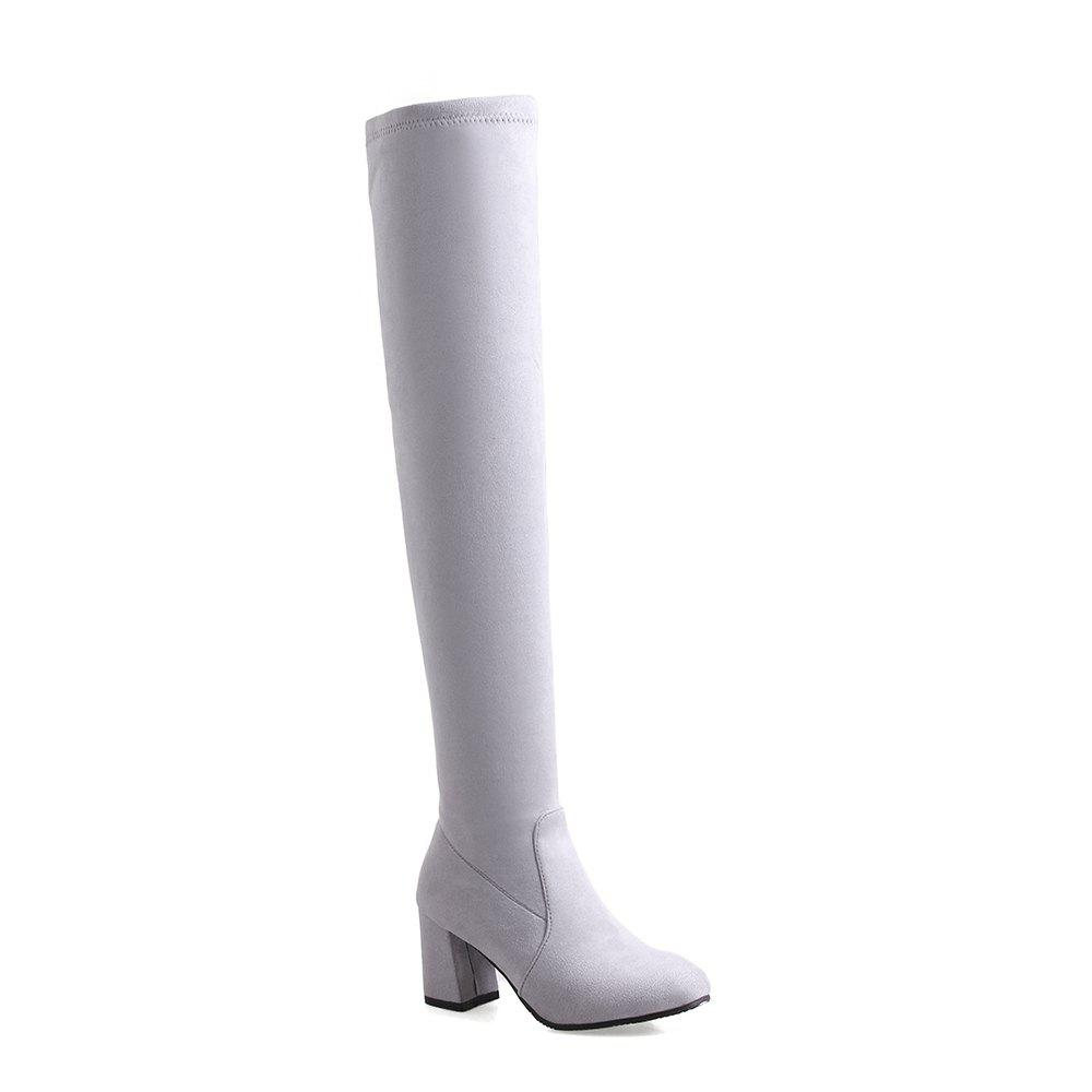 High-heeled Boots Leg Over Knee - GRAY 40