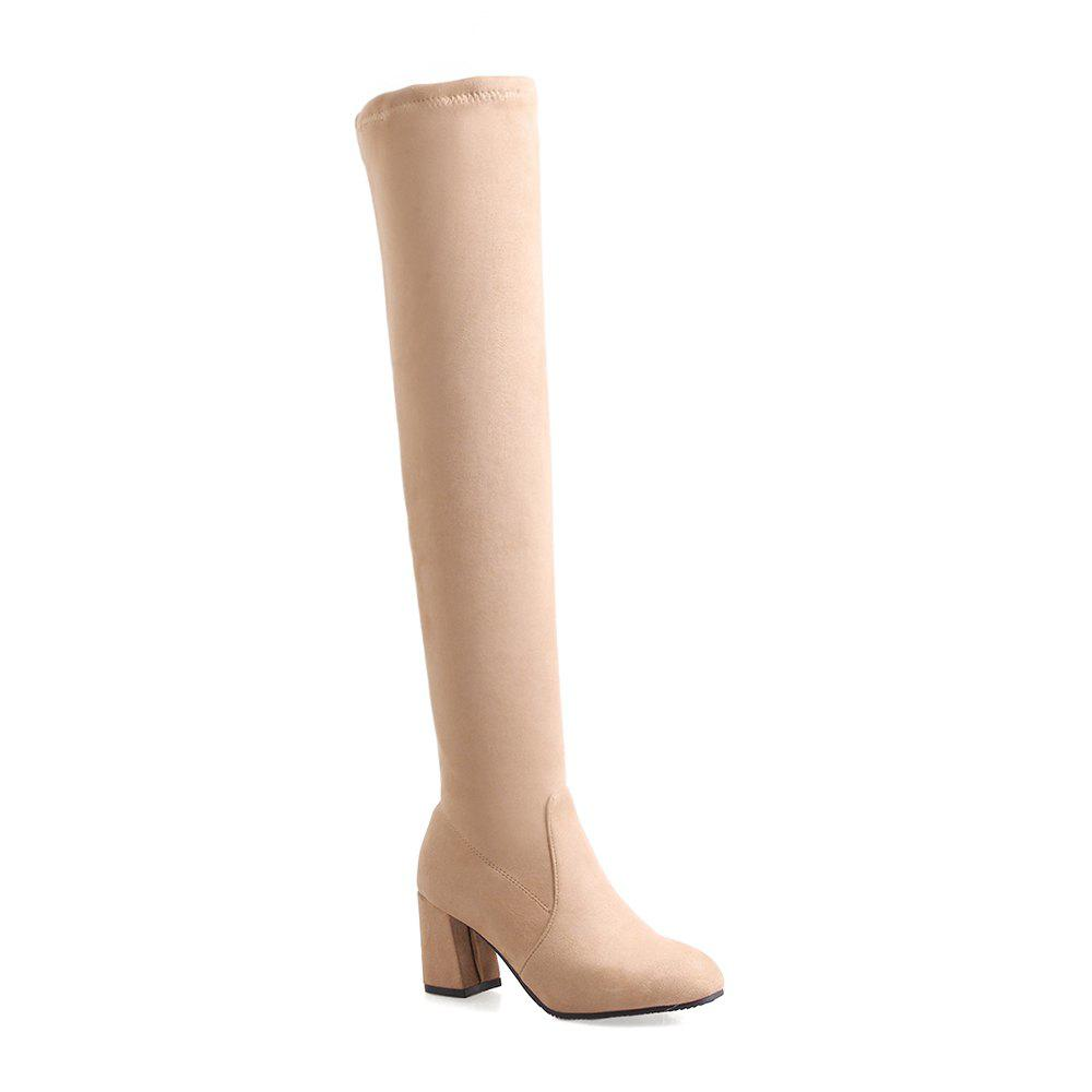 High-heeled Boots Leg Over Knee - APRICOT 38