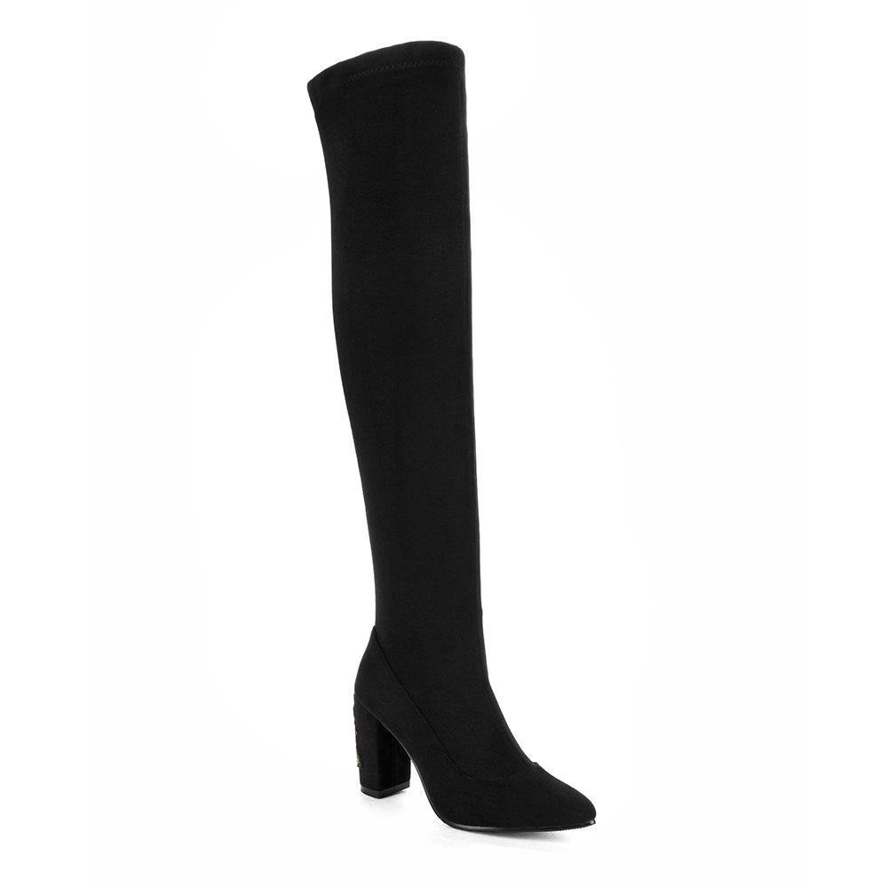 High Elastic Knee High Set foot Stovepipe Winter Embroidery Boots - BLACK 41