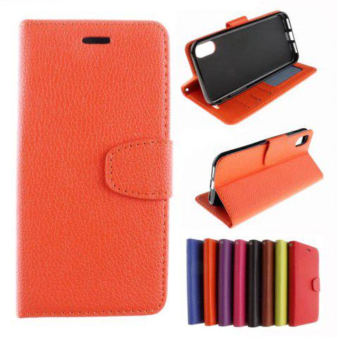 Luxury Litchi Grain Phone Bags Slots Flip Cover PTU Leather Wallet Case for iPhone X - ORANGE