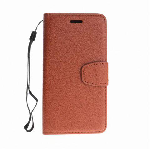 Luxury Litchi Grain Phone Bags Slots Flip Cover PTU Leather Wallet Case for iPhone X - BROWN