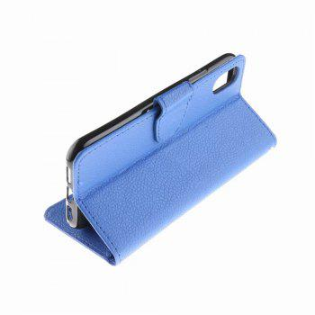 Luxury Litchi Grain Phone Bags Slots Flip Cover PTU Leather Wallet Case for iPhone X - BLUE