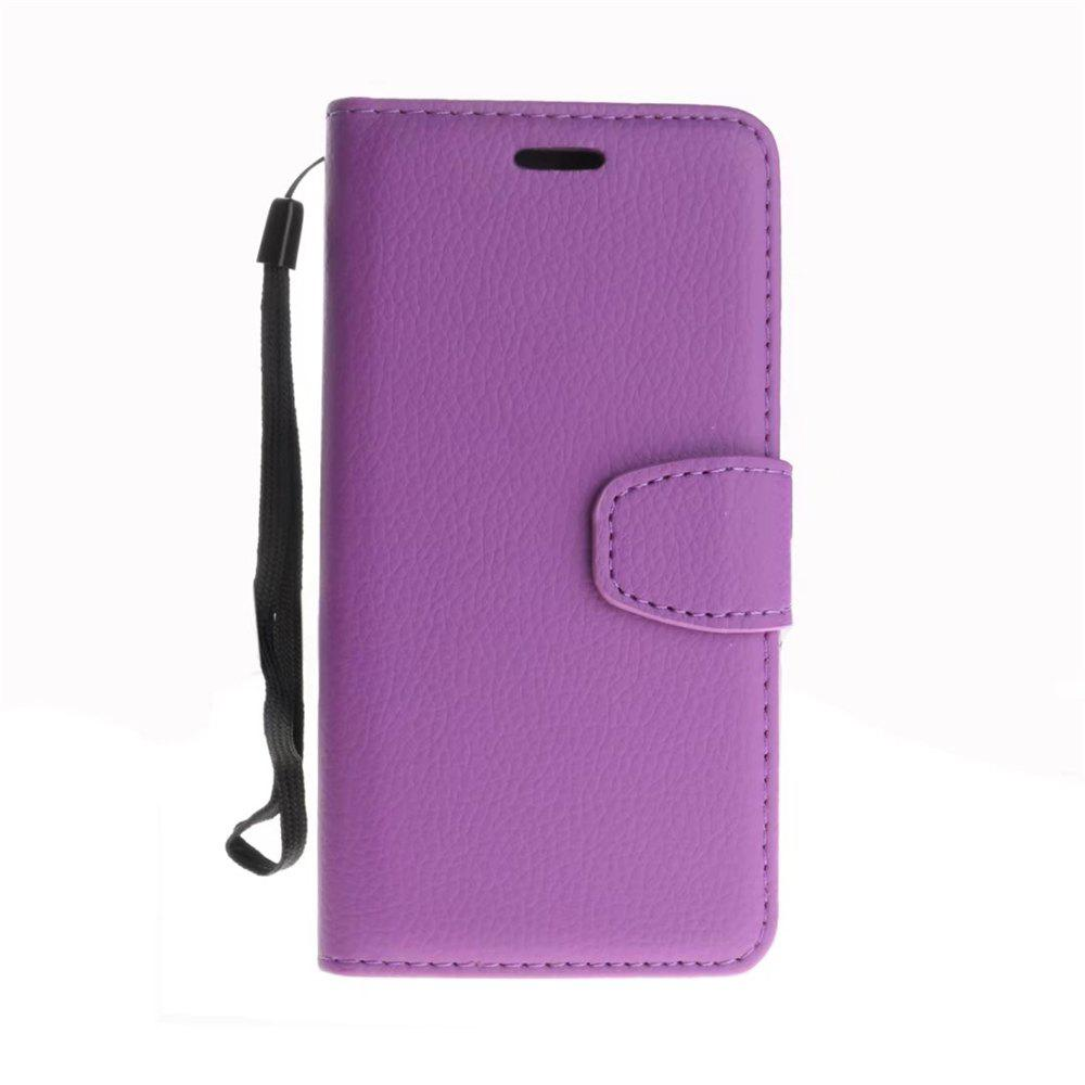 Luxury Litchi Grain Phone Bags Slots Flip Cover PTU Leather Wallet Case for iPhone X - PURPLE
