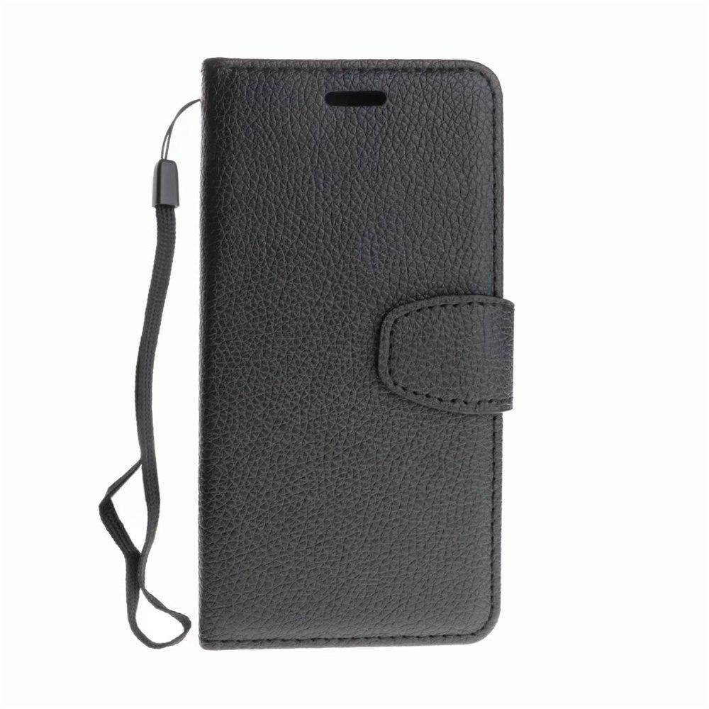 Luxury Litchi Grain Phone Bags Slots Flip Cover PTU Leather Wallet Case for iPhone X - BLACK