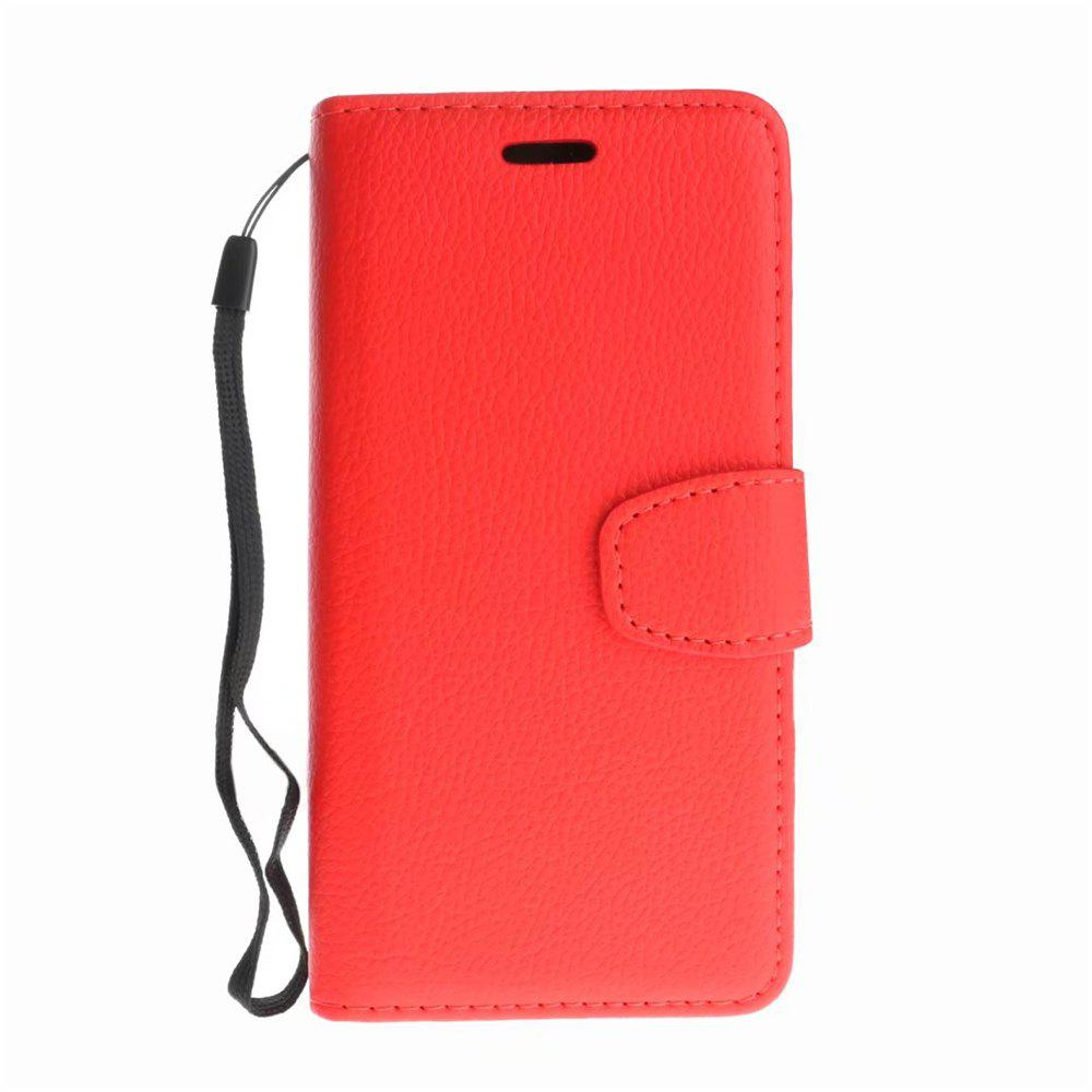 Luxury Litchi Grain Phone Bags Slots Flip Cover PTU Leather Wallet Case for iPhone X - RED