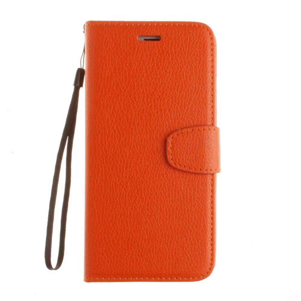 Luxury Litchi Grain Phone Bags Slots Flip Cover PTU Leather Wallet Case for iPhone 7 Plus / 8 Plus - ORANGE