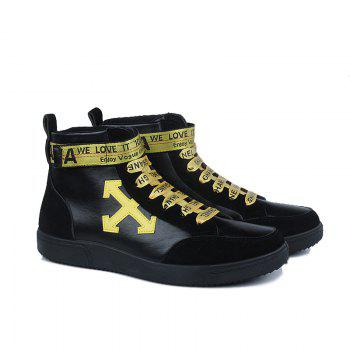 Autumn and Winter High-Top Fashion Personality with Men'S Shoes - YELLOW/BLACK YELLOW/BLACK