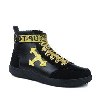 Autumn and Winter High-Top Fashion Personality with Men'S Shoes - YELLOW AND BLACK YELLOW/BLACK