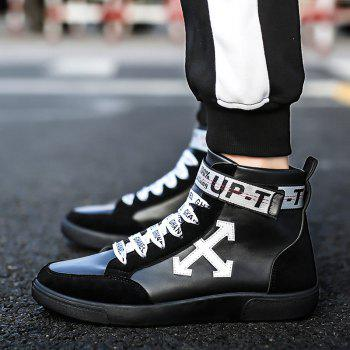 Autumn and Winter High-Top Fashion Personality with Men'S Shoes - BLACK WHITE BLACK WHITE