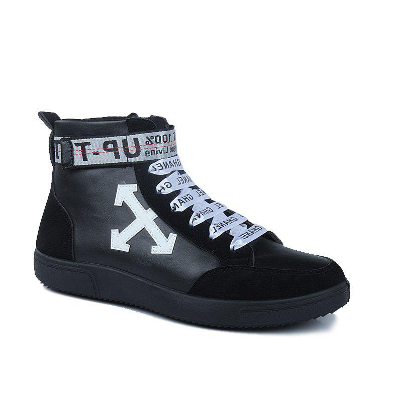 Autumn and Winter High-Top Fashion Personality with Men'S Shoes - BLACK WHITE 40