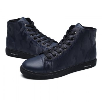 Winter High-Size Large-Size Lace Up Outdoor Sport Men'S Shoes - DEEP BLUE 40