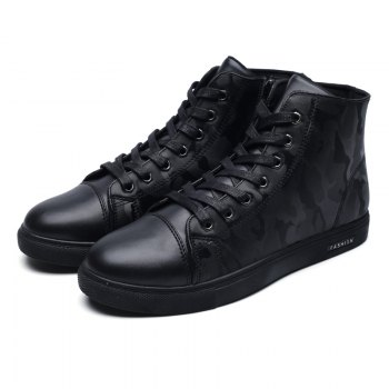 Winter High-Size Large-Size Lace Up Outdoor Sport Men'S Shoes - BLACK 44