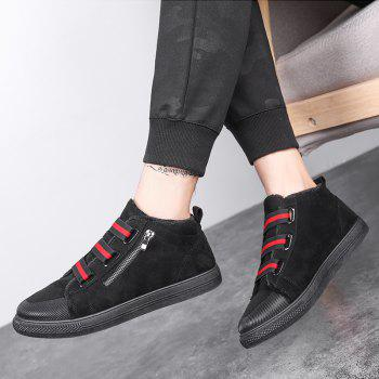 Autumn and Winter Buckle Warm Plus Cotton Men'S Boots - BLACK/RED 40
