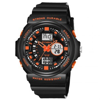 SYNOKE66866Outdoor Climbing Waterproof Electronic Watch Man - BLACK ORANGE BLACK ORANGE
