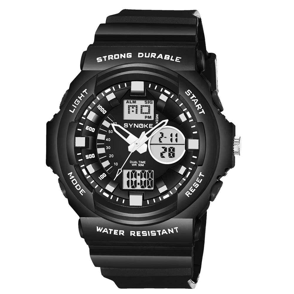 SYNOKE66866Outdoor Climbing Waterproof Electronic Watch Man - BLACK