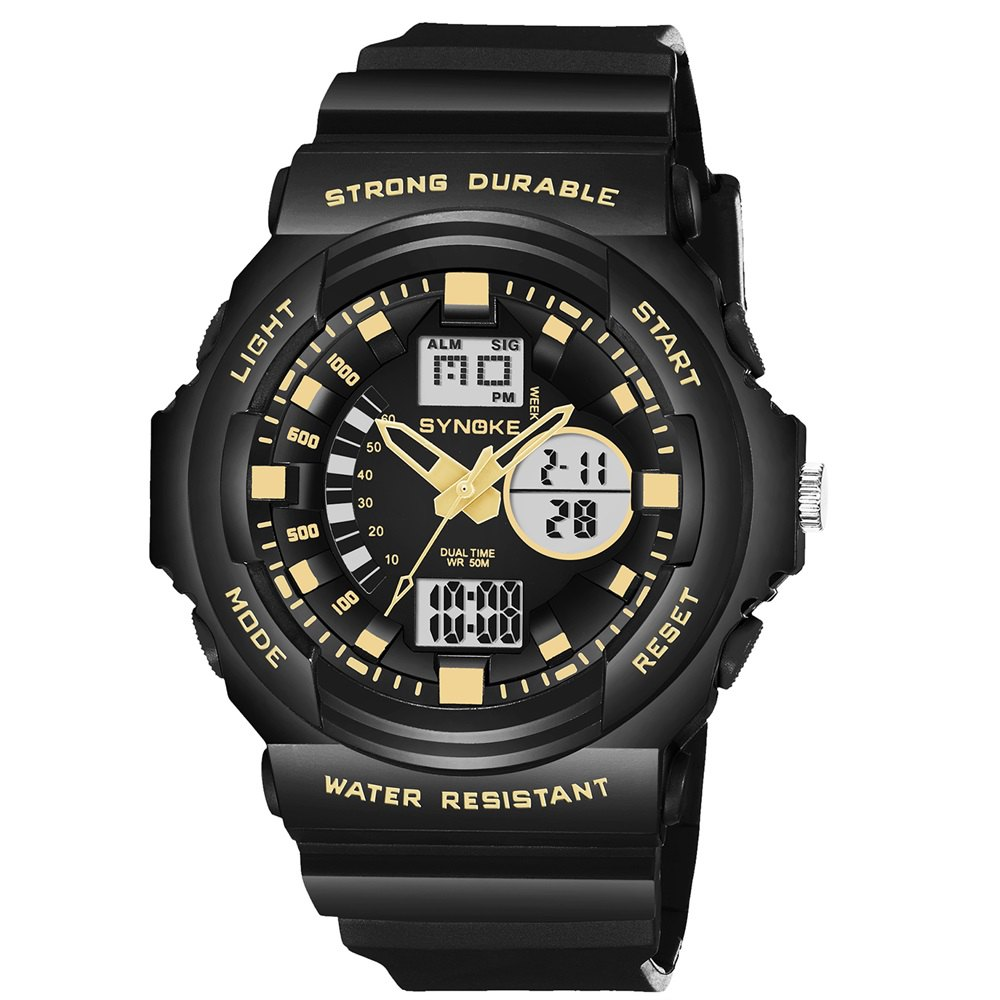 SYNOKE66866Outdoor Climbing Waterproof Electronic Watch Man - BLACK GOLD
