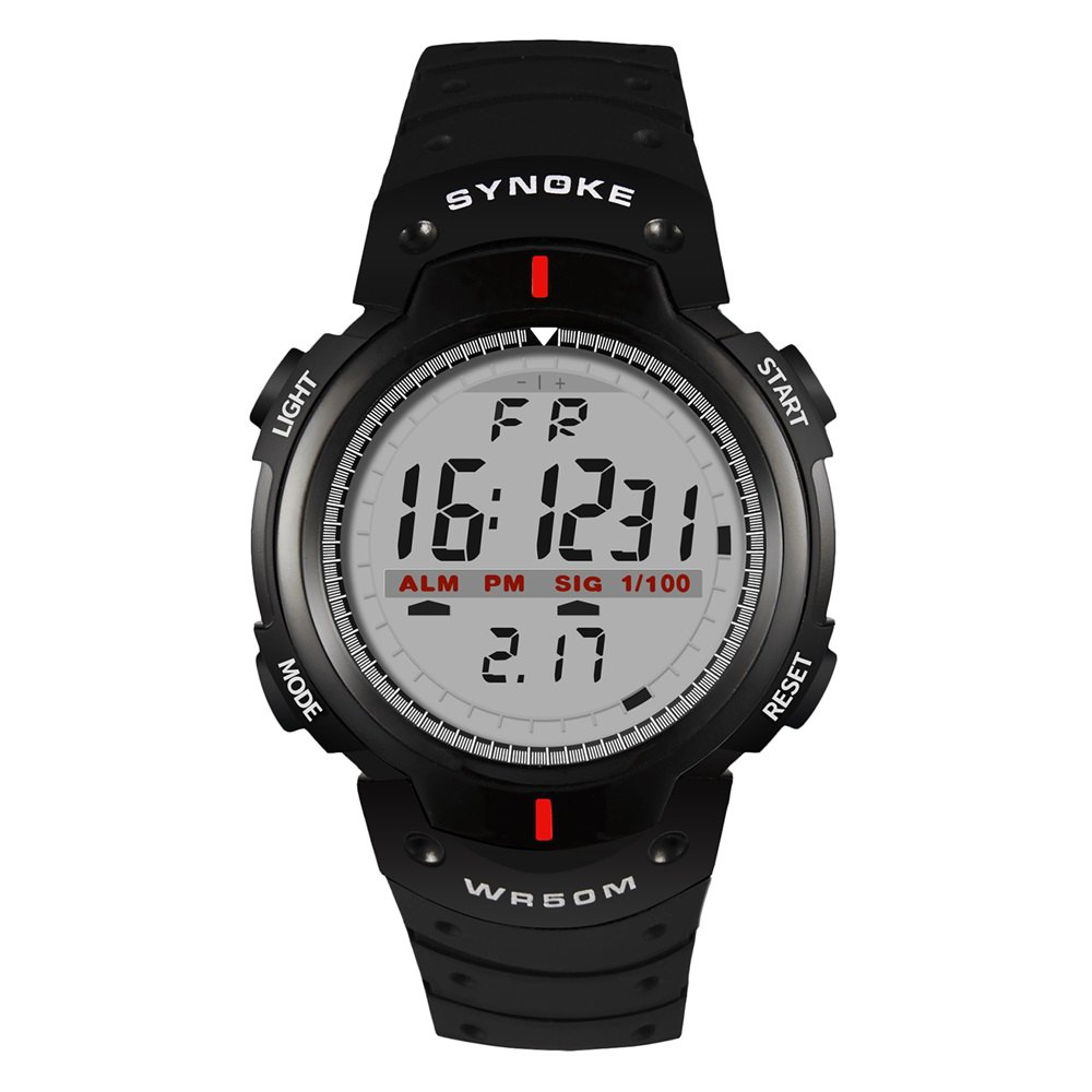 SYNOKE 61576 Sports Men Waterproof Outdoor Watch - BLACK