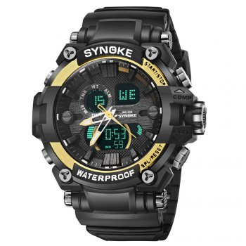 SYNOKE 67356 Men Outdoor Sports Watch - BLACK GOLD BLACK GOLD