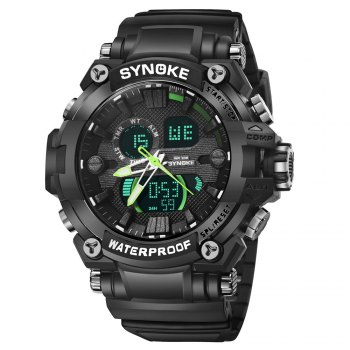 SYNOKE 67356 Men Outdoor Sports Watch - BLACK AND GREEN BLACK/GREEN