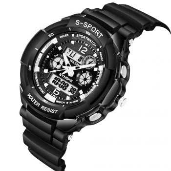 SYNOKE 67316 Waterproof Men Sports Watch -  BLACK WHITE