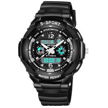 SYNOKE 67316 Waterproof Men Sports Watch - BLACK WHITE BLACK WHITE