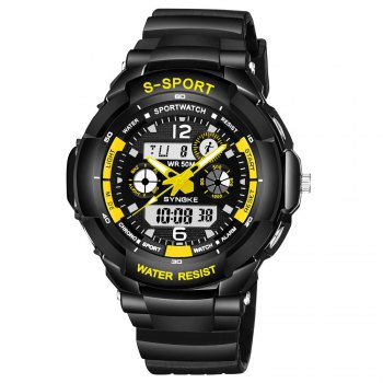 SYNOKE 67316 Waterproof Men Sports Watch - BLACK AND YELLOW BLACK/YELLOW