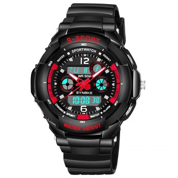 SYNOKE 67316 Waterproof Men Sports Watch -  BLACK/RED