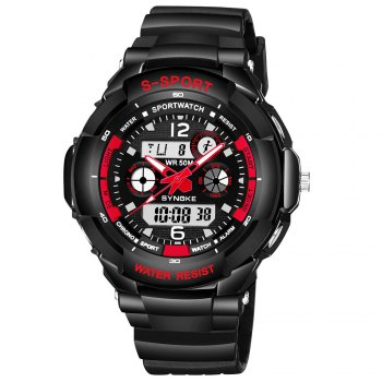 SYNOKE 67316 Waterproof Men Sports Watch - BLACK AND RED BLACK/RED